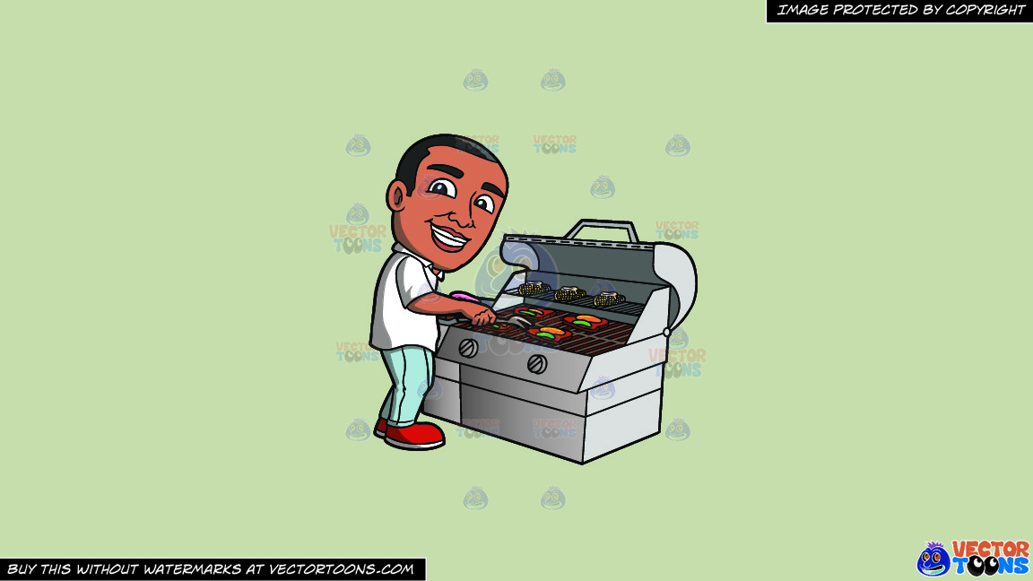 A Black Man Grilling Steak And Vegetables On A Solid Pale Silver C6ccb2 Background thumbnail