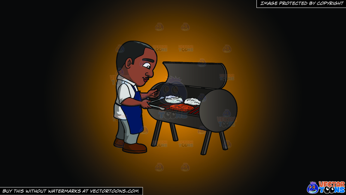 A Black Man Grilling Steaks On A Orange And Black Gradient Background thumbnail
