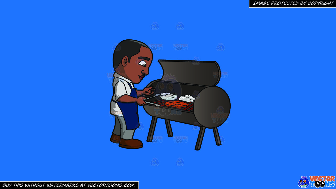 A Black Man Grilling Steaks On A Solid Spanish Blue 016fb9 Background thumbnail