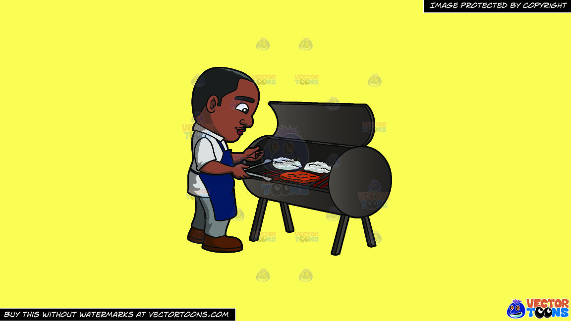 A Black Man Grilling Steaks On A Solid Sunny Yellow Fff275 Background thumbnail