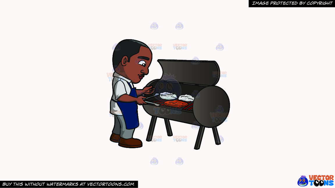 A Black Man Grilling Steaks On A Solid White Smoke F7f4f3 Background thumbnail