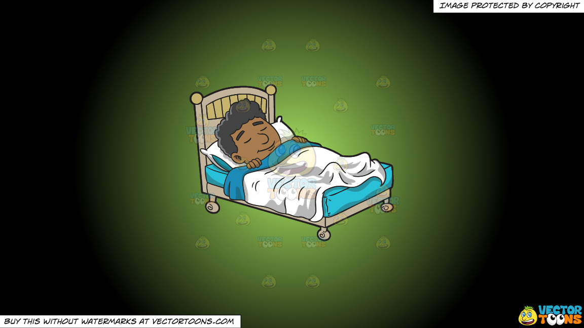A Black Man Having A Good Dream On A Green And Black Gradient Background thumbnail