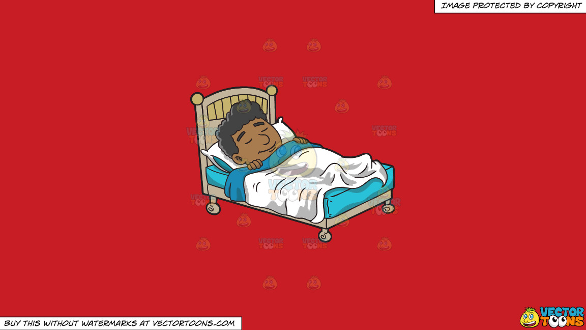 A Black Man Having A Good Dream On A Solid Fire Engine Red C81d25 Background thumbnail