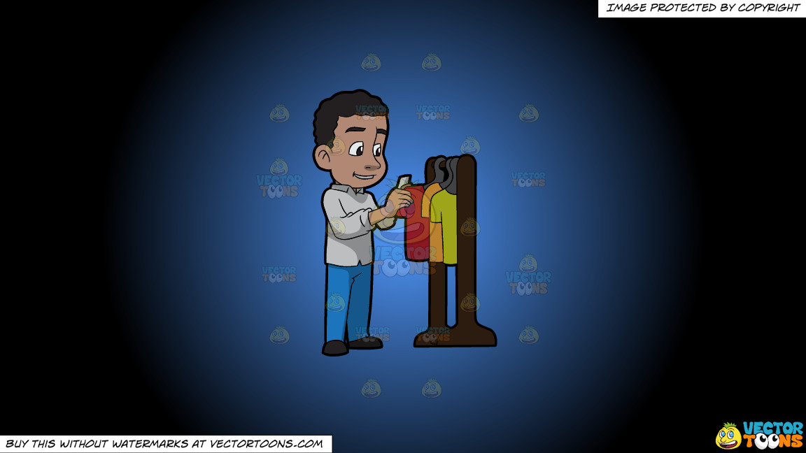 A Black Man Looking At A Rack Of Clothes On A Blue And Black Gradient Background thumbnail