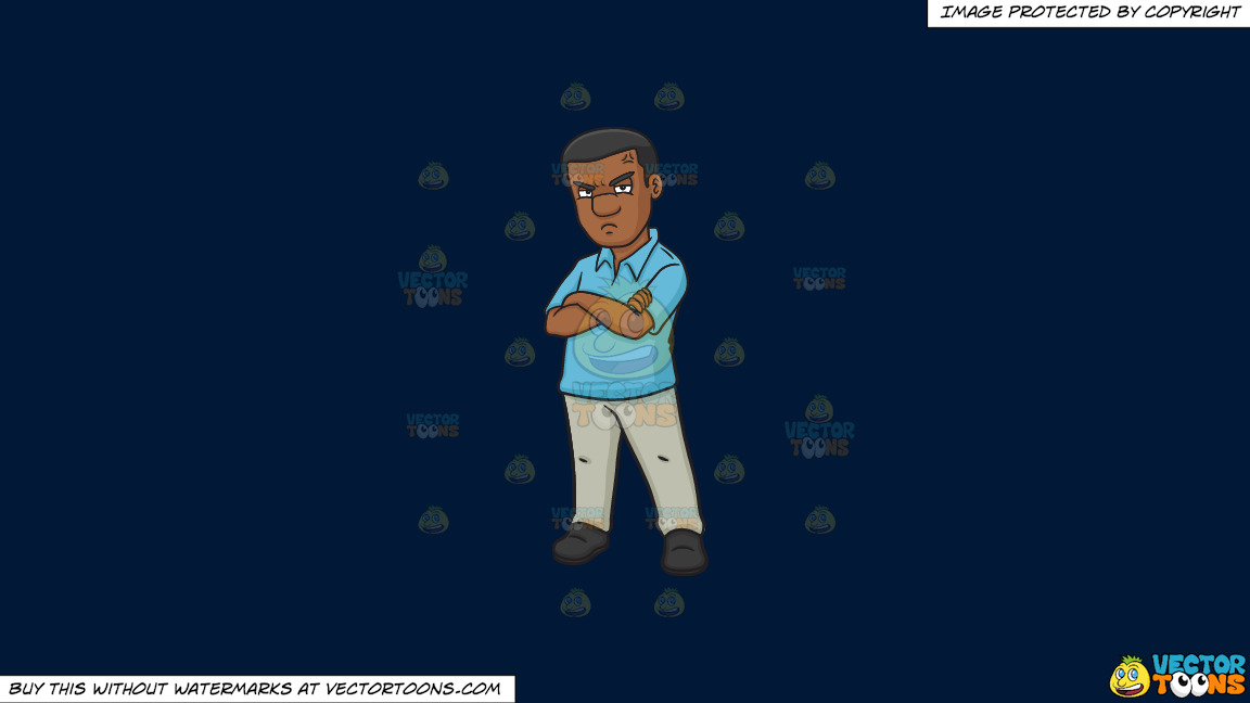 A Black Man Looking So Annoyed On A Solid Dark Blue 011936 Background thumbnail
