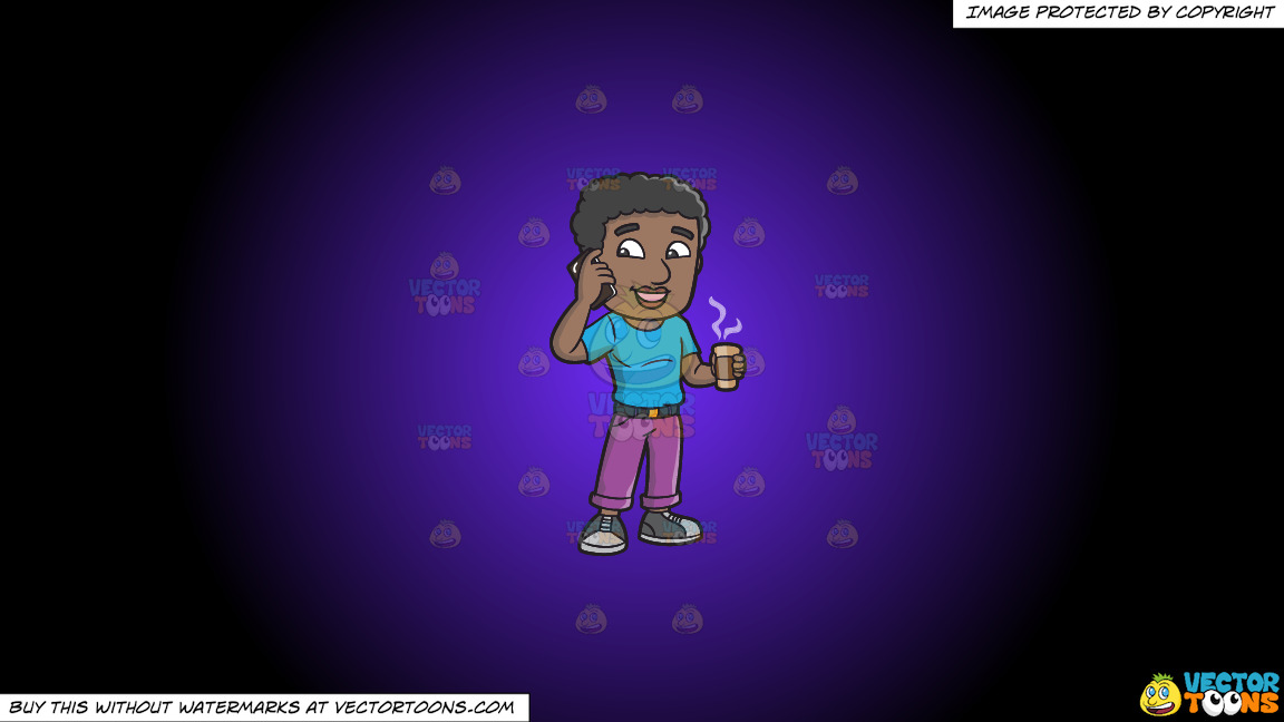 A Black Man On His Cellphone While Holding A Cup Of Coffee On A Purple And Black Gradient Background thumbnail
