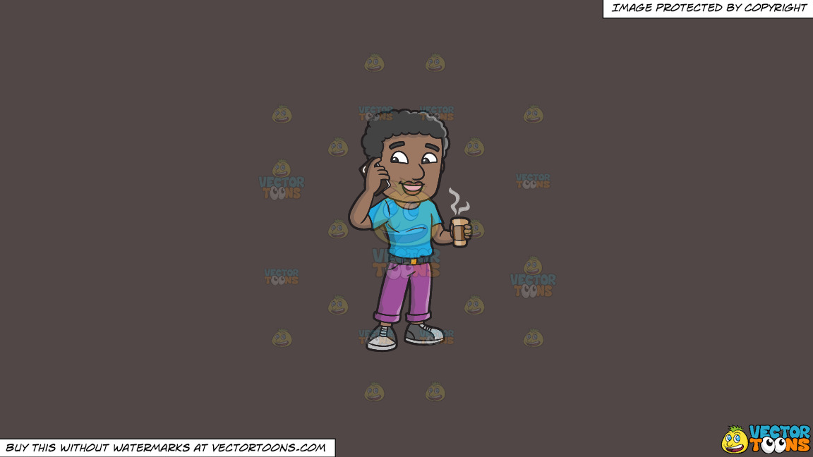 A Black Man On His Cellphone While Holding A Cup Of Coffee On A Solid Quartz 504746 Background thumbnail