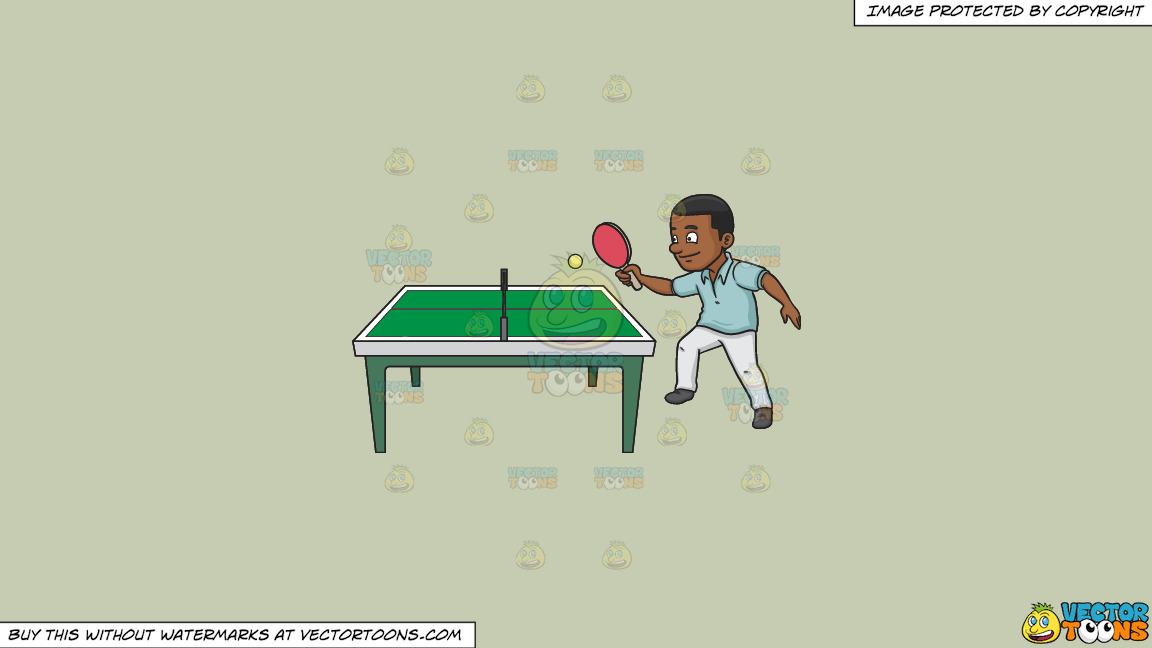 A Black Man Playing Ping Pong On A Solid Pale Silver C6ccb2 Background thumbnail