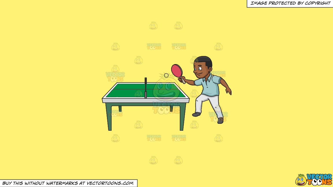 A Black Man Playing Ping Pong On A Solid Sunny Yellow Fff275 Background thumbnail