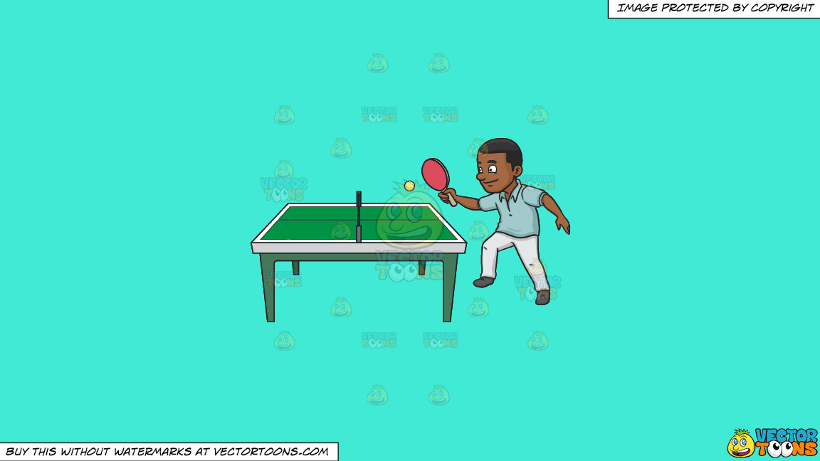 A Black Man Playing Ping Pong On A Solid Turquiose 41ead4 Background thumbnail