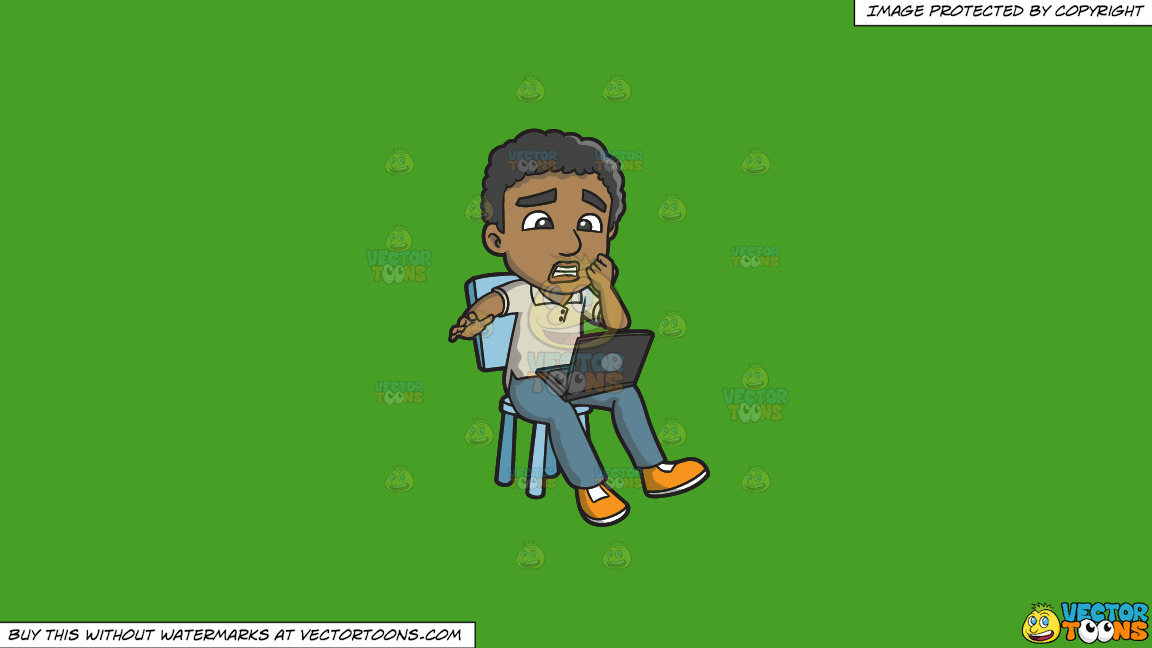 A Black Man Shocked By News From The Internet On A Solid Kelly Green 47a025 Background thumbnail
