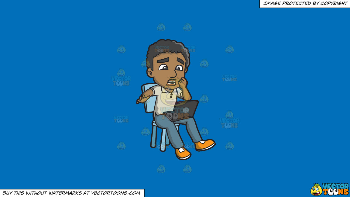 A Black Man Shocked By News From The Internet On A Solid Spanish Blue 016fb9 Background thumbnail