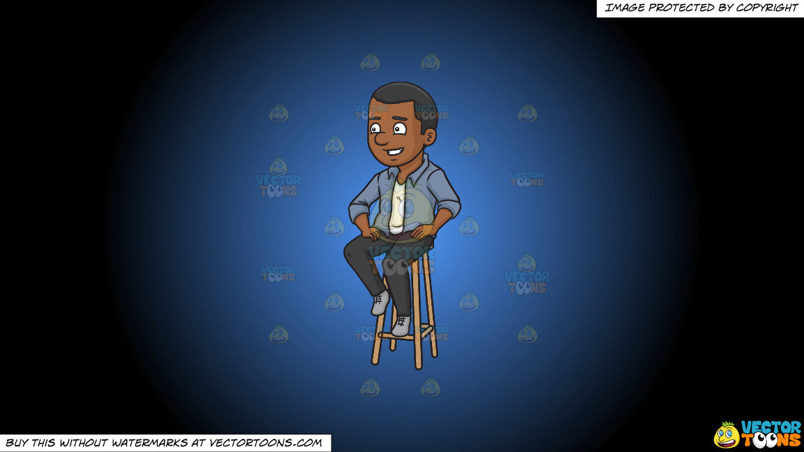 A Black Man Sitting On A Bar Stool On A Blue And Black Gradient Background thumbnail