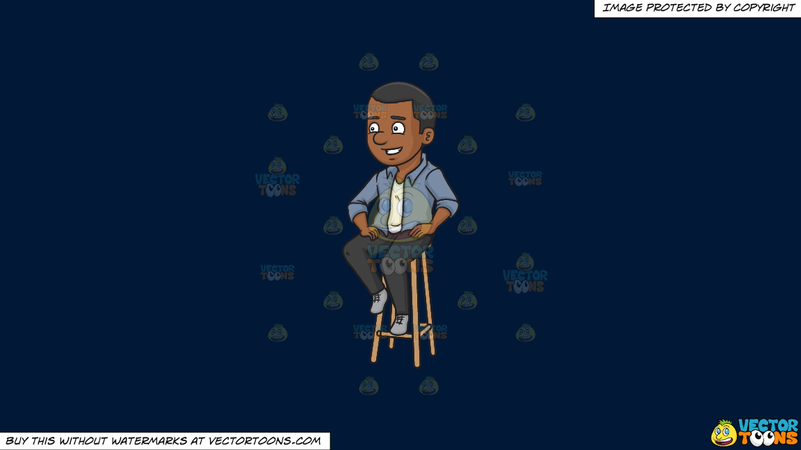 A Black Man Sitting On A Bar Stool On A Solid Dark Blue 011936 Background thumbnail