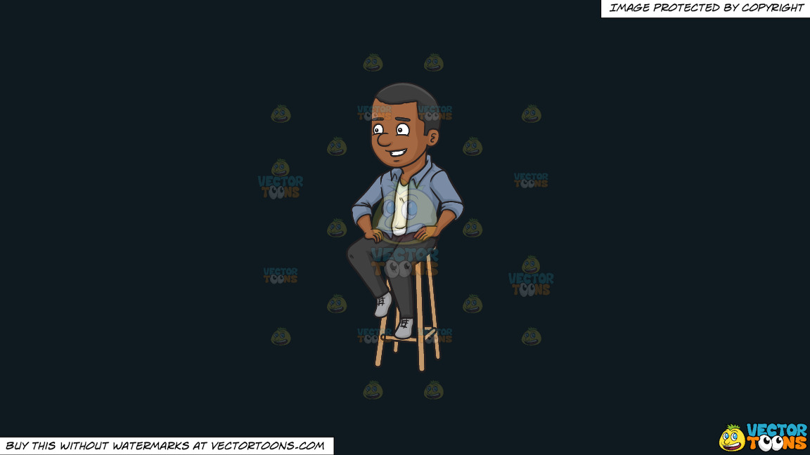 A Black Man Sitting On A Bar Stool On A Solid Off Black 0f1a20 Background thumbnail