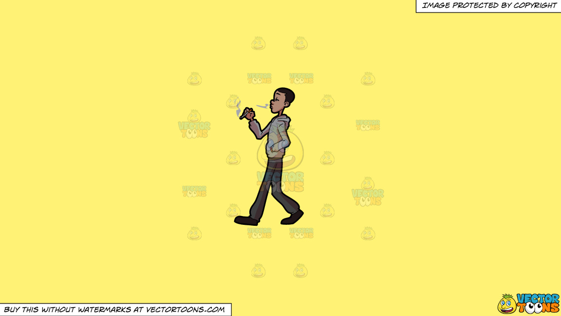 A Black Man Smoking A Cigarette On A Solid Sunny Yellow Fff275 Background thumbnail