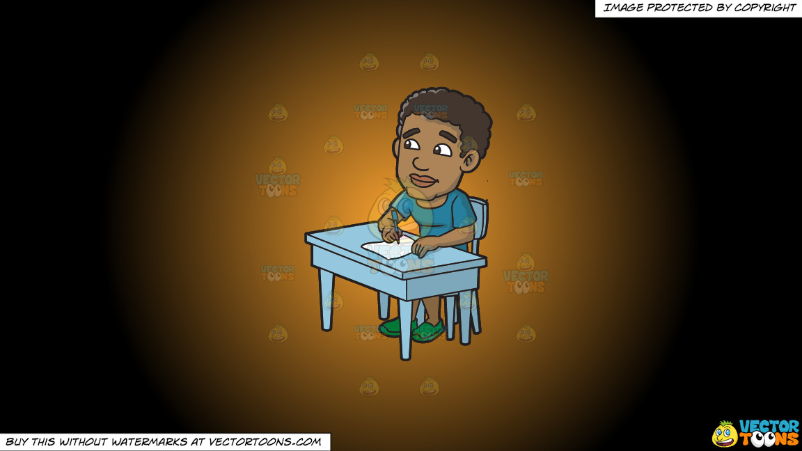 A Black Man Thinks Of What To Write On His Paper On A Orange And Black Gradient Background thumbnail