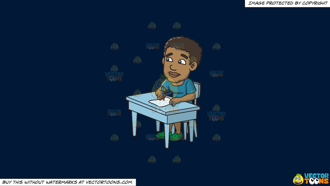 A Black Man Thinks Of What To Write On His Paper On A Solid Dark Blue 011936 Background thumbnail