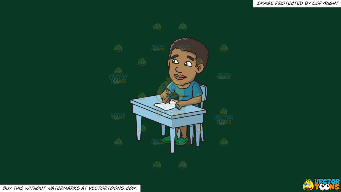 A Black Man Thinks Of What To Write On His Paper On A Solid Dark Green 093824 Background thumbnail