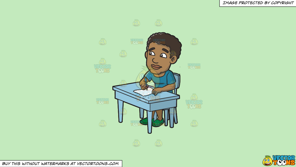 A Black Man Thinks Of What To Write On His Paper On A Solid Tea Green C2eabd Background thumbnail