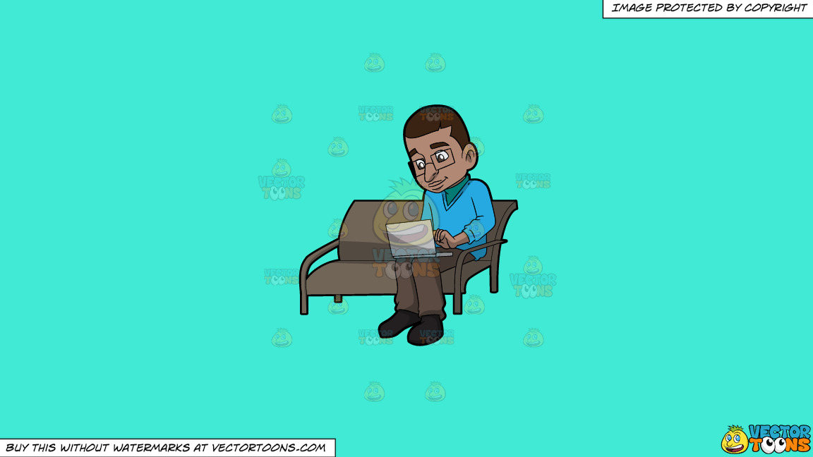 A Black Man Using His Laptop Computer On A Solid Turquiose 41ead4 Background thumbnail