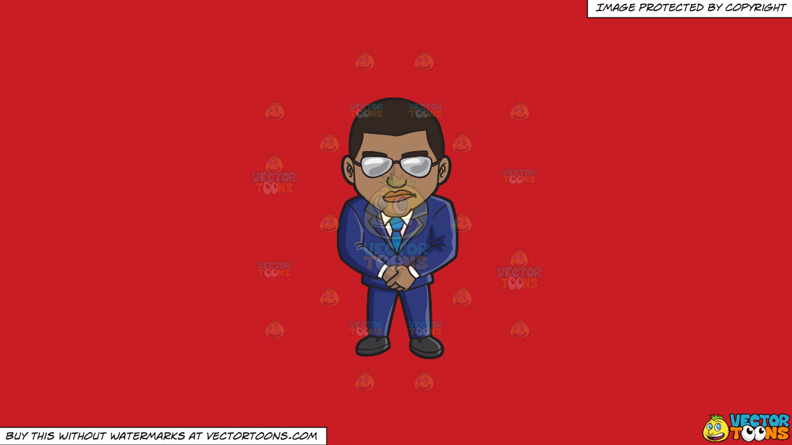 A Black Vip Bouncer On A Solid Fire Engine Red C81d25 Background thumbnail