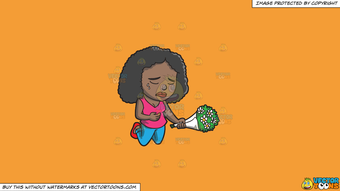 A Black Woman Agonizing Over The Death Of A Person On A Solid Deep Saffron Gold F49d37 Background thumbnail