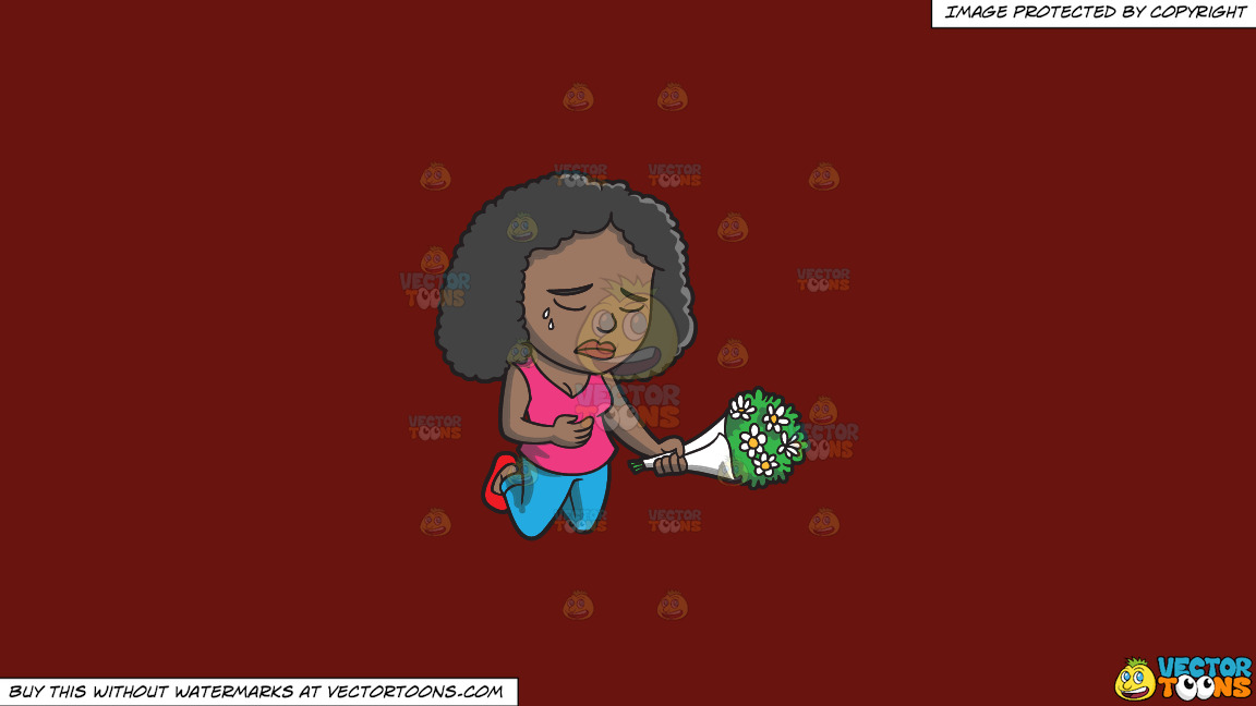 A Black Woman Agonizing Over The Death Of A Person On A Solid Maroon 69140e Background thumbnail
