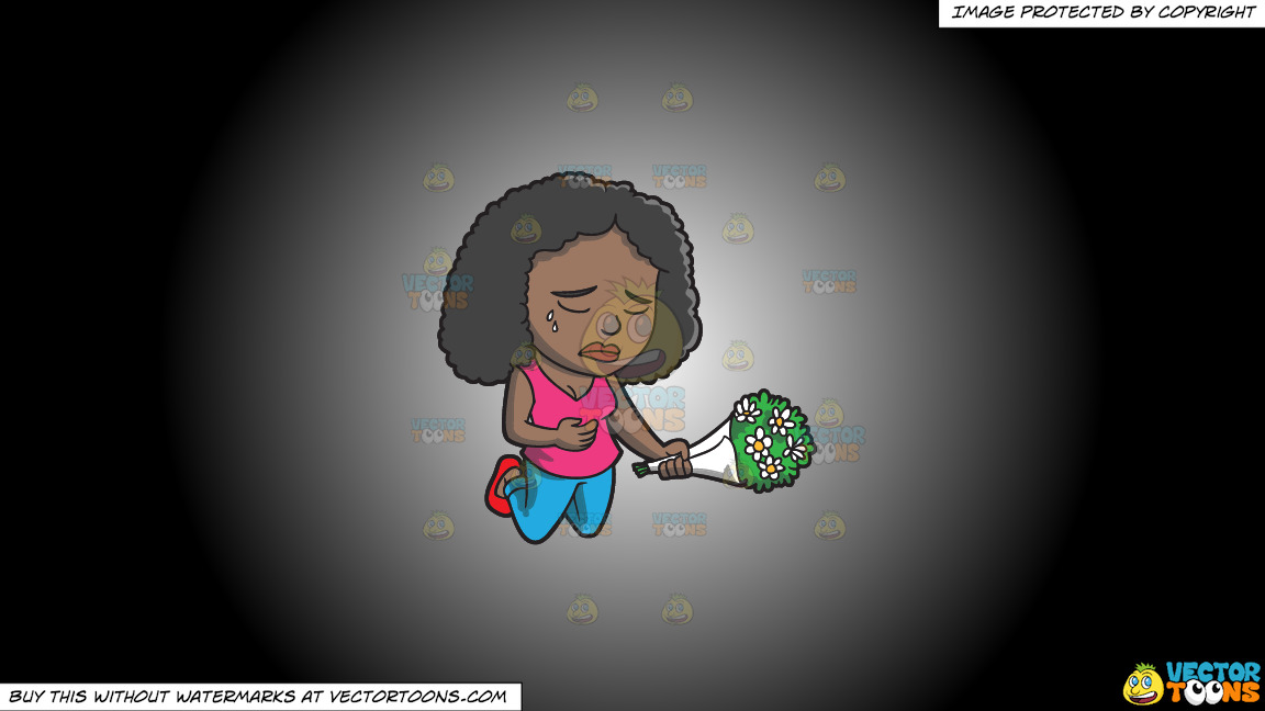 A Black Woman Agonizing Over The Death Of A Person On A White And Black Gradient Background thumbnail