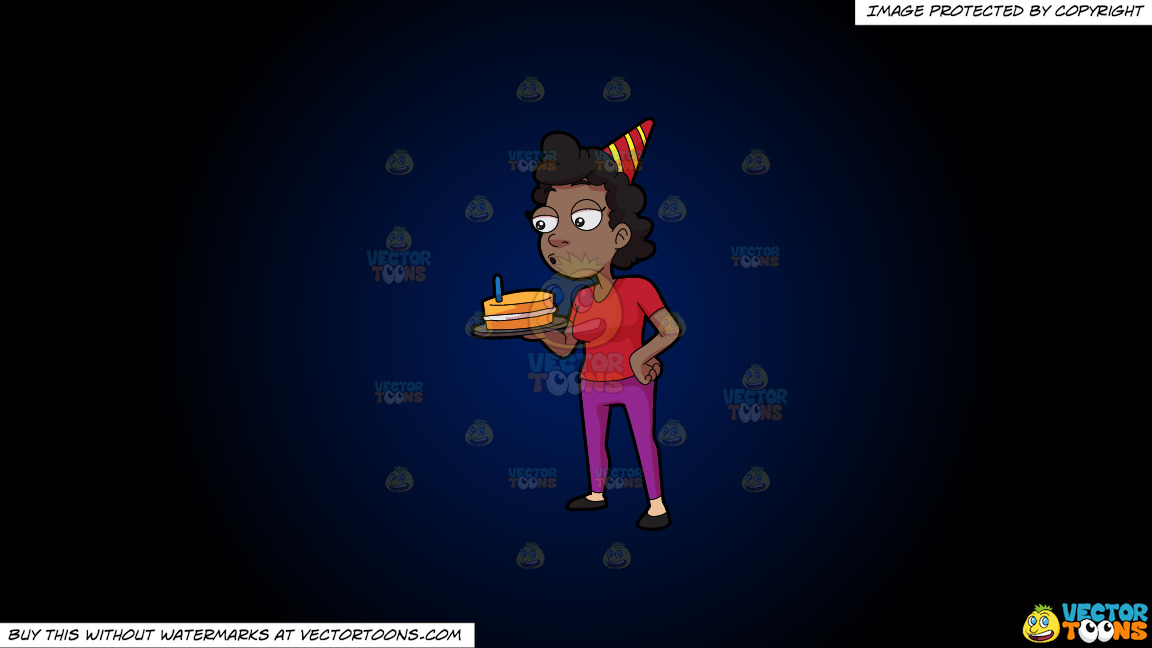 A Black Woman Blowing The Candle On Her Cake On A Dark Blue And Black Gradient Background thumbnail