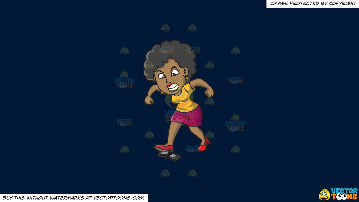 A Black Woman Destroying Her Cellphone On A Solid Dark Blue 011936 Background thumbnail