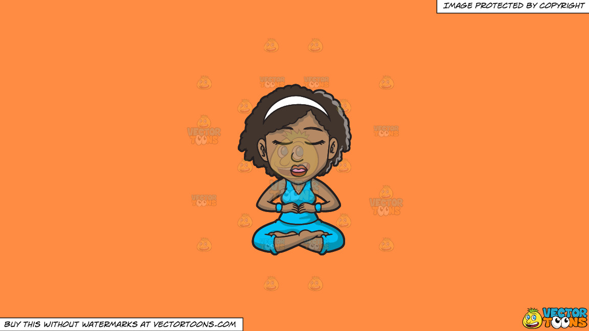 A Black Woman Doing Some Meditation On A Solid Mango Orange Ff8c42 Background thumbnail