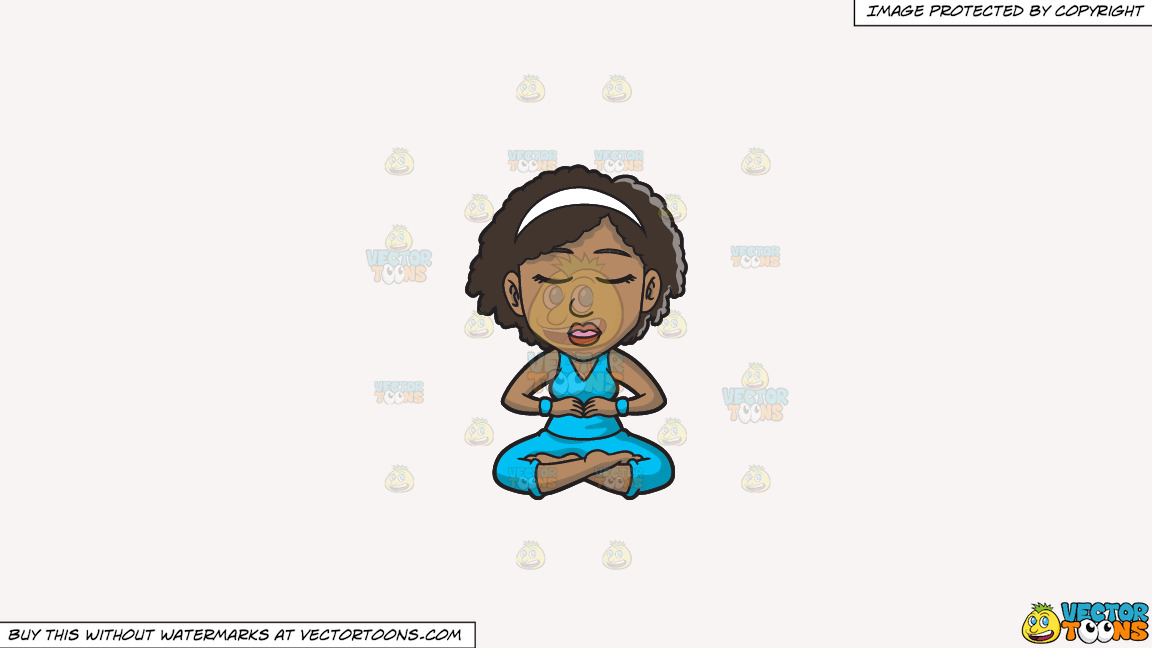 A Black Woman Doing Some Meditation On A Solid White Smoke F7f4f3 Background thumbnail