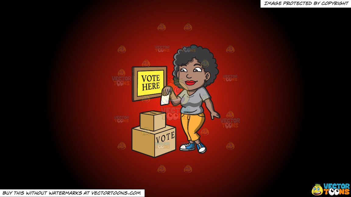 A Black Woman Dropping Her Ballot In The Box On A Red And Black Gradient Background thumbnail