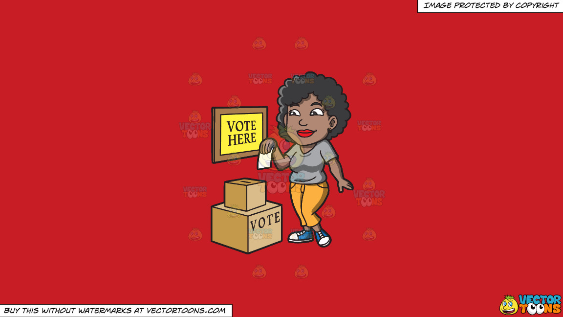 A Black Woman Dropping Her Ballot In The Box On A Solid Fire Engine Red C81d25 Background thumbnail