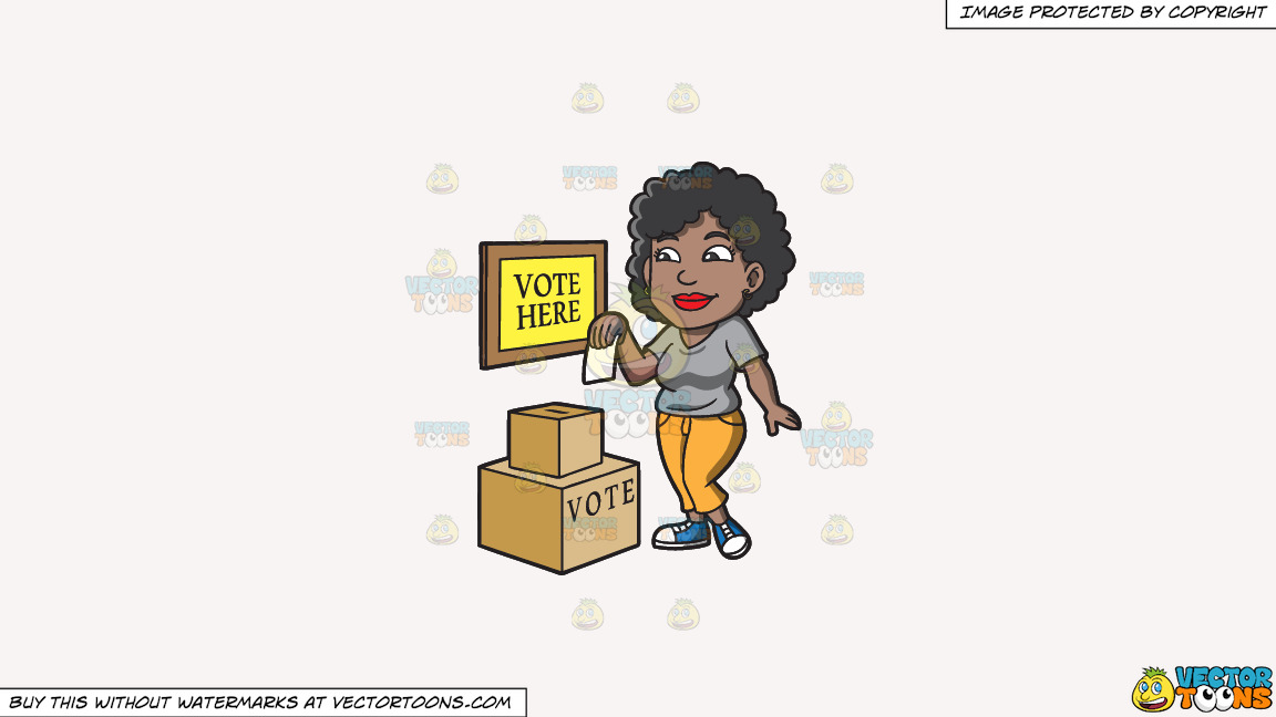A Black Woman Dropping Her Ballot In The Box On A Solid White Smoke F7f4f3 Background thumbnail