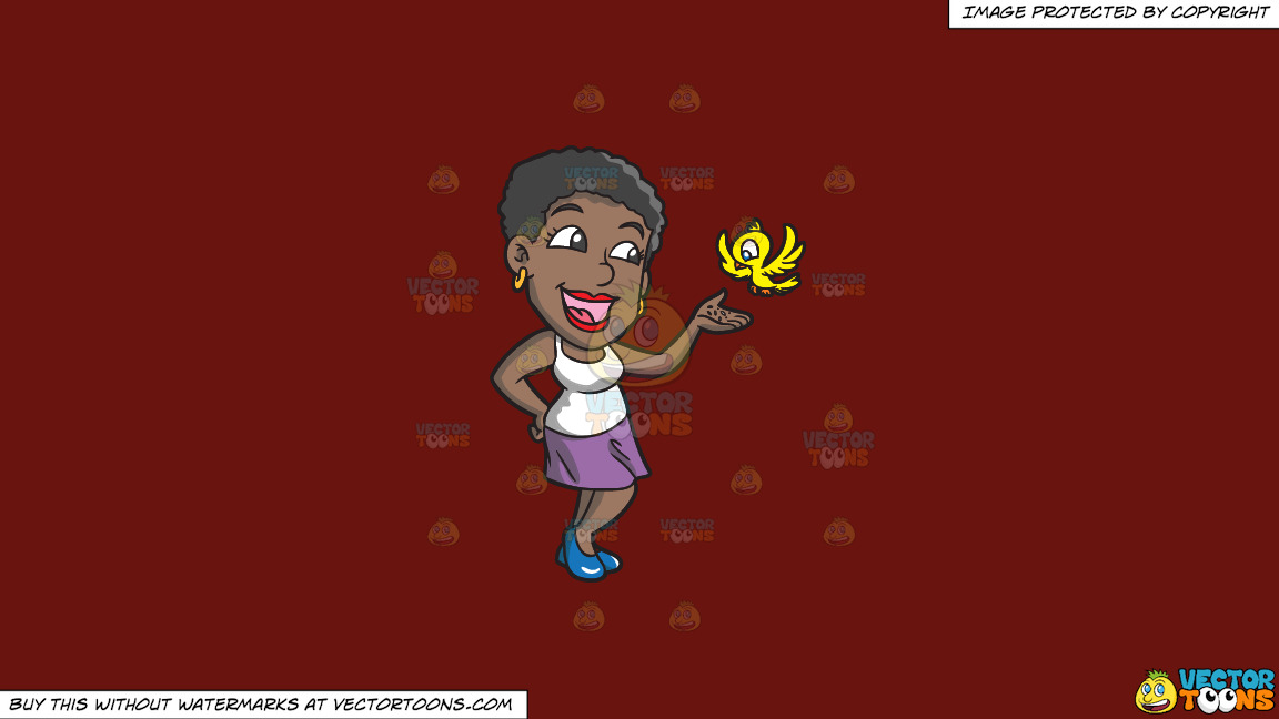 A Black Woman Feeding A Bird On A Solid Maroon 69140e Background thumbnail