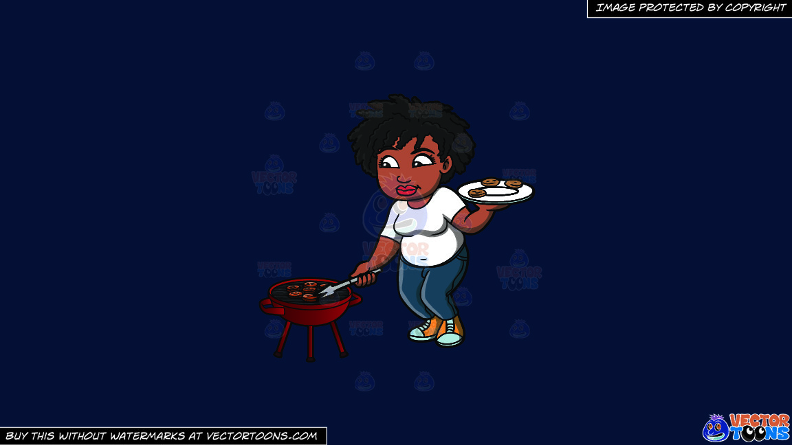 A Black Woman Getting Her Grilled Burger Patties On A Solid Dark Blue 011936 Background thumbnail