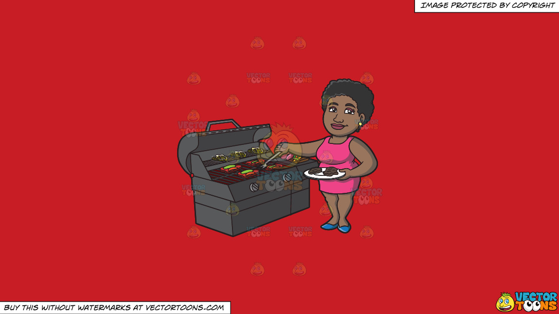 A Black Woman Getting The Steak Off The Grill On A Solid Fire Engine Red C81d25 Background thumbnail