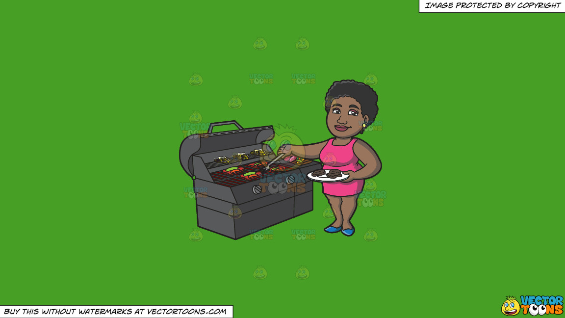 A Black Woman Getting The Steak Off The Grill On A Solid Kelly Green 47a025 Background thumbnail