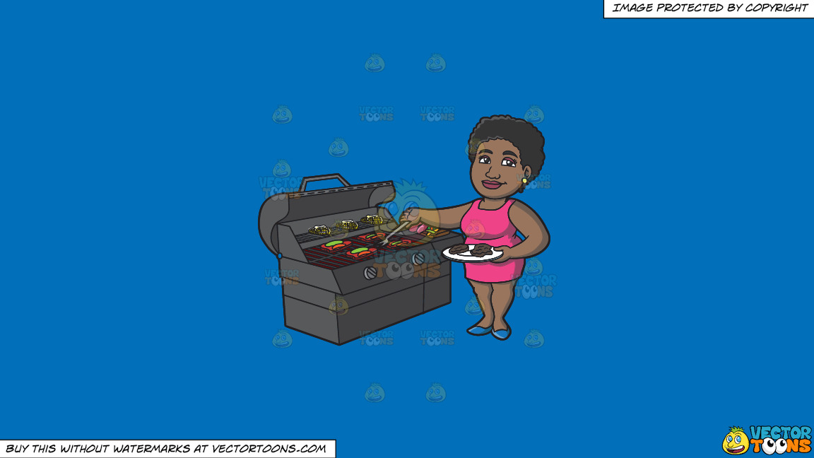 A Black Woman Getting The Steak Off The Grill On A Solid Spanish Blue 016fb9 Background thumbnail