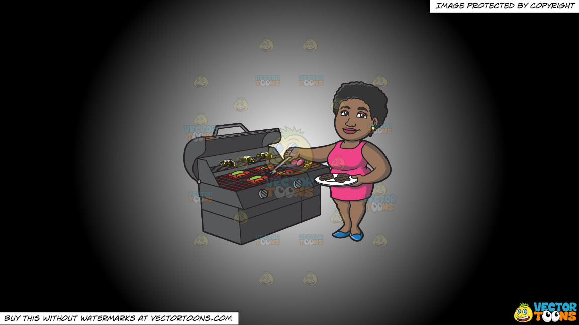 A Black Woman Getting The Steak Off The Grill On A White And Black Gradient Background thumbnail