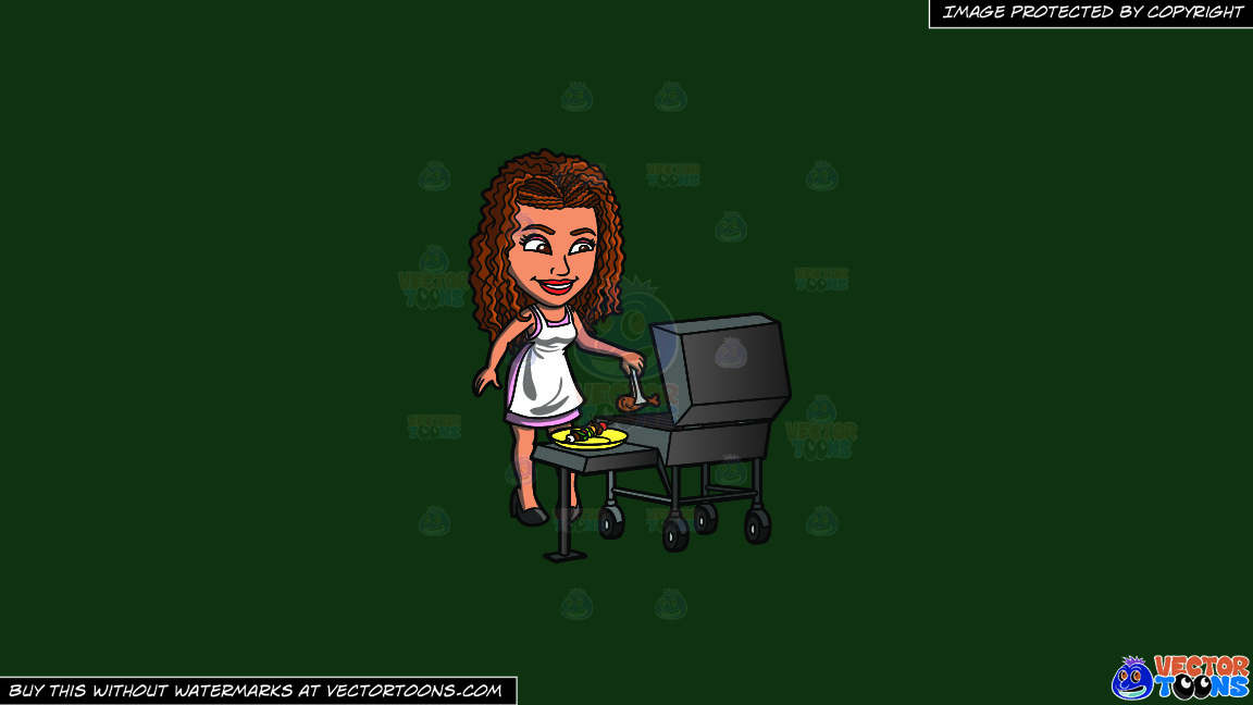 A Black Woman Grilling Chicken And Kebabs On A Solid Dark Green 093824 Background thumbnail