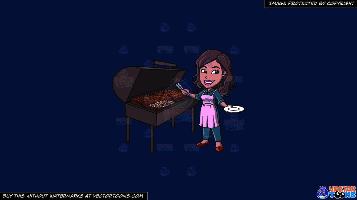 A Black Woman Grilling Chicken Barbecue On A Solid Dark Blue 011936 Background thumbnail