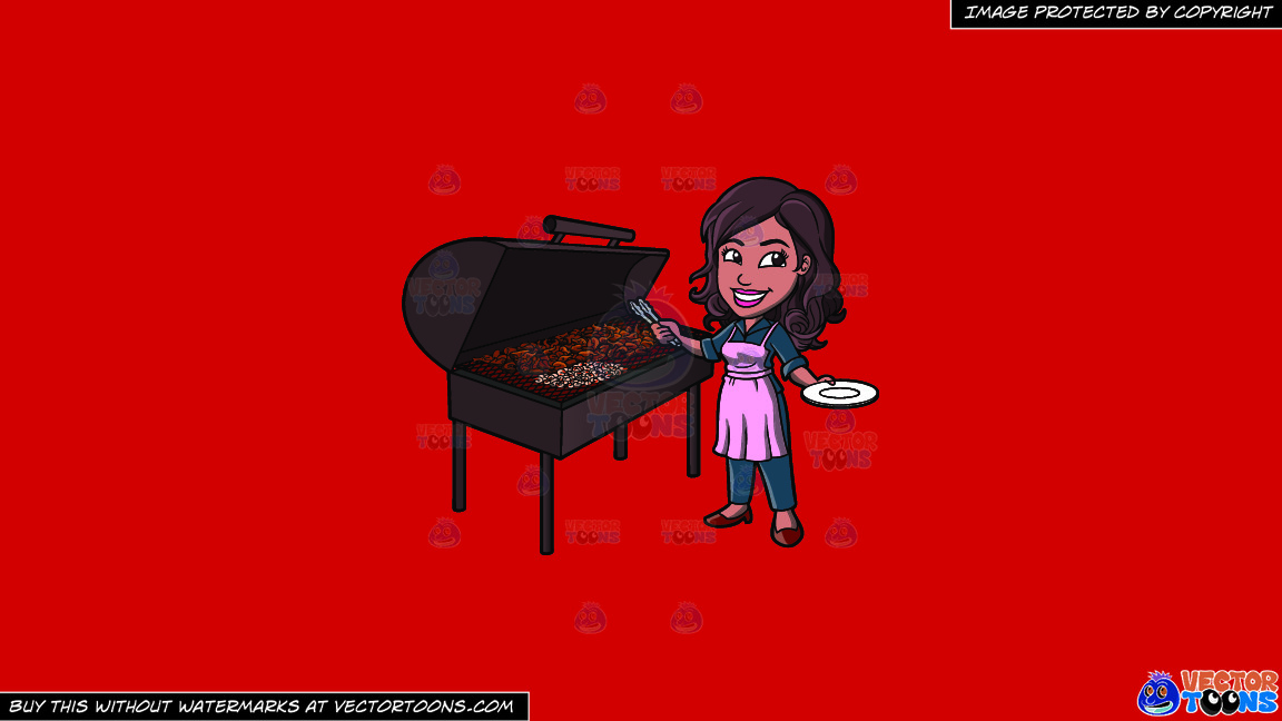 A Black Woman Grilling Chicken Barbecue On A Solid Fire Engine Red C81d25 Background thumbnail