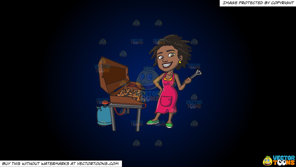 A Black Woman Grilling Ribs And Chicken On A Dark Blue And Black Gradient Background thumbnail