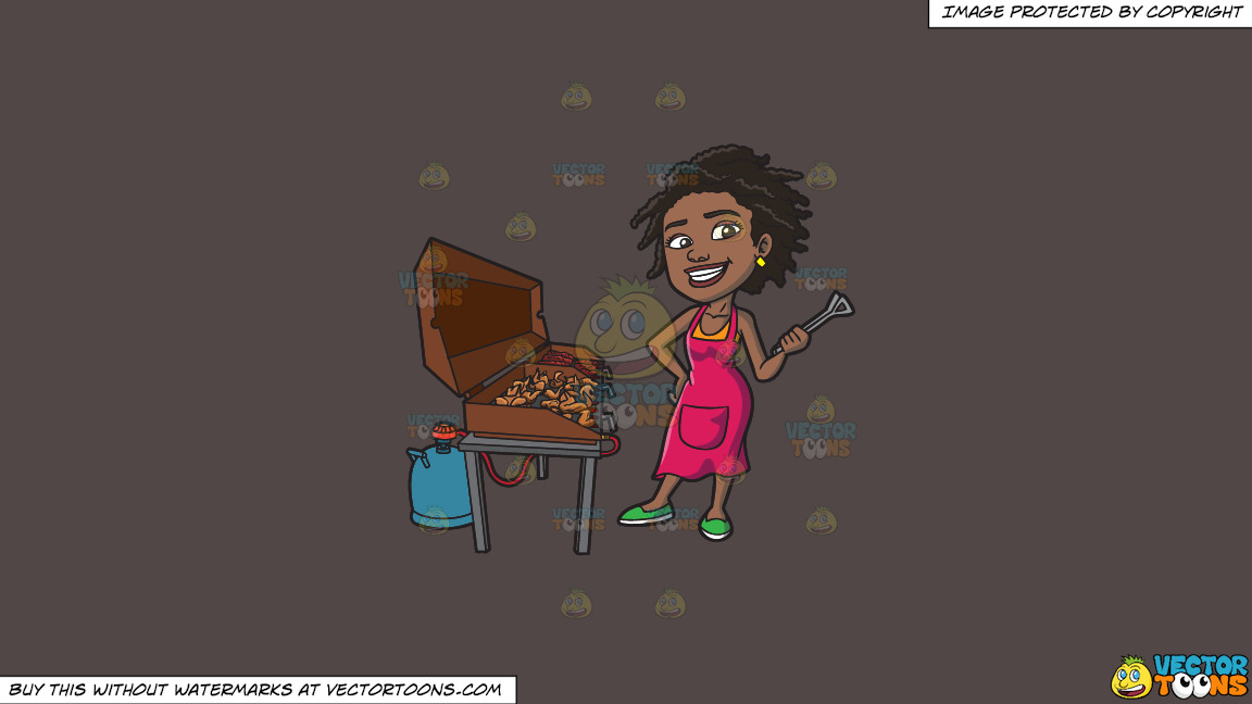 A Black Woman Grilling Ribs And Chicken On A Solid Quartz 504746 Background thumbnail