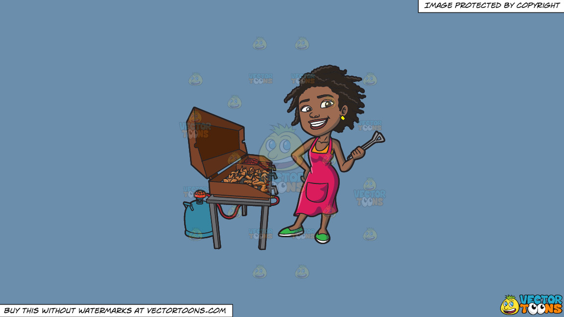 A Black Woman Grilling Ribs And Chicken On A Solid Shadow Blue 6c8ead Background thumbnail