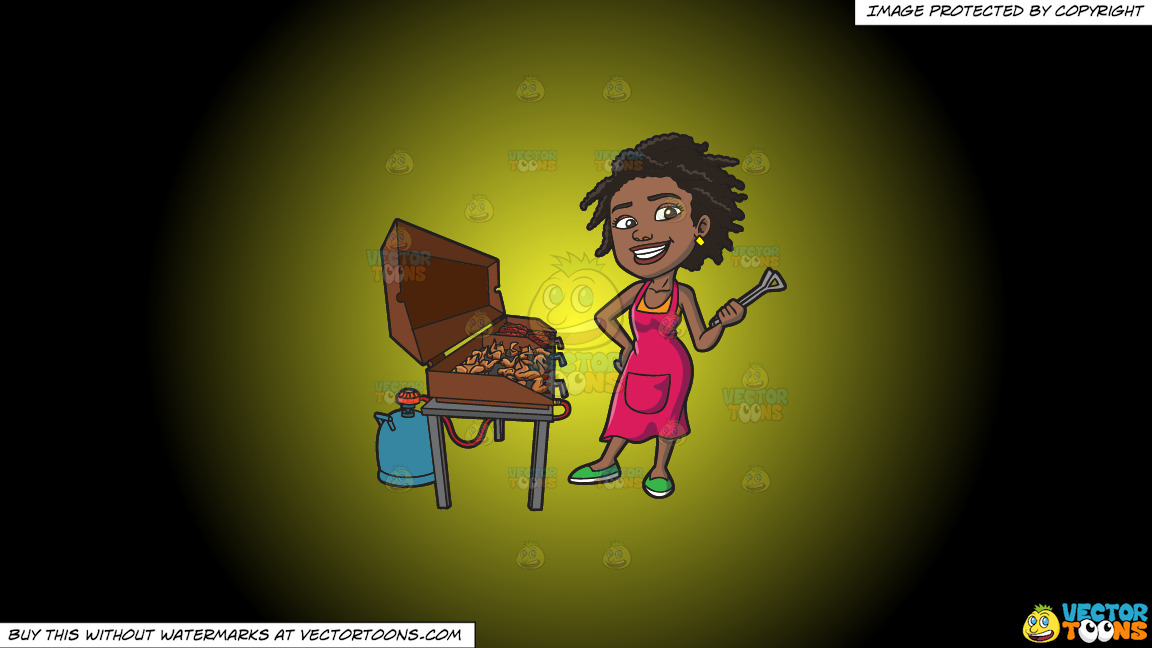 A Black Woman Grilling Ribs And Chicken On A Yellow And Black Gradient Background thumbnail