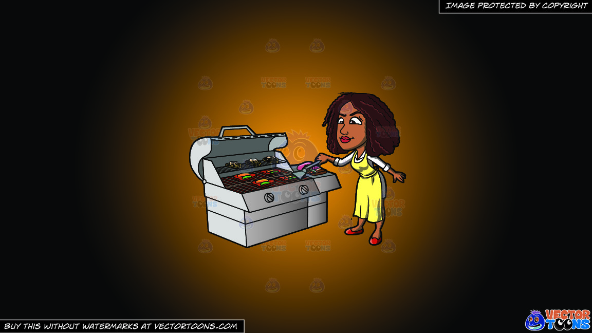 A Black Woman Grilling Steak And Vegetables On A Orange And Black Gradient Background thumbnail